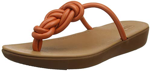 Fitflop Swirl Knot Jasmin Toe Post, Sandali a Punta Aperta Donna, Arancione (Amber Ash 679), 41 EU