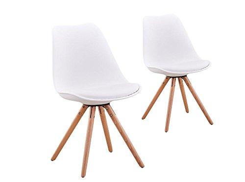 UsineStreet Lot de 2 chaises scandinaves Loop avec Coussin et Pieds Bois - Couleur - Blanc