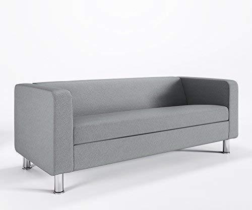 Loungesofa 3-Sitzer CUBBY 4N3 Cocktailsofa Hotelsofa Bürocouch Webstruktur LUNA, Farbe:L31 - Lightgrau