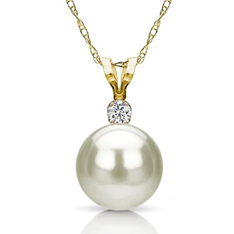 14k Yellow Gold .10tcw Diamond 10-10.5mm White Freshwater Cultured High Luster Pearl Pendant, 18 by La Regis Jewelry