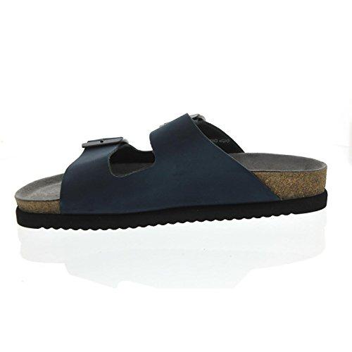 Mephisto Nerio, Herrenpantolette, Sandalbuck 6045, Navy N 1175 Blau