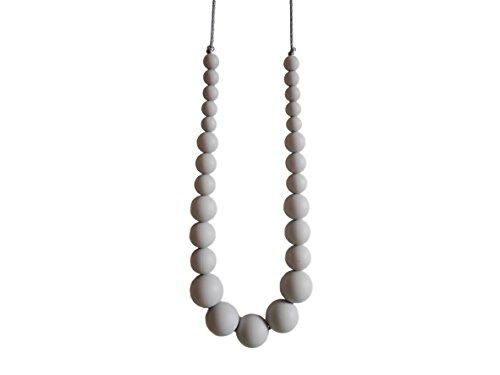 tillkette mit 27 Perlen aus Silikon, BPA frei - Baby Halskette & Beißkette in sorgsamer Handarbeit gefertigt von MilkMama - in 3 verschiedenen Farben erhältlich (Grau) ()
