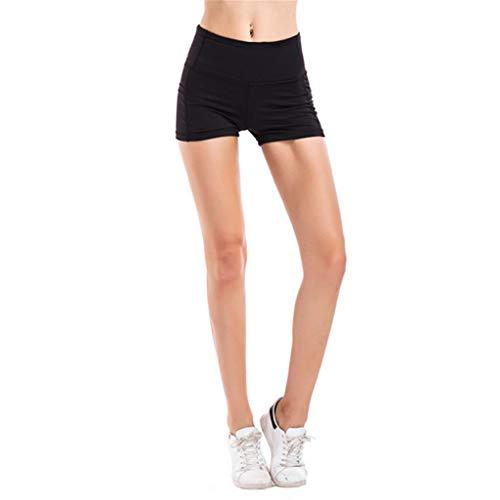 WOZOW Short Leggings Damens Solid Basic Seitentasche Sommer Breathable Cycling Shorts Hot Skinny Stretch Sport Yoga Mini Kurze Hose (S,schwarz)