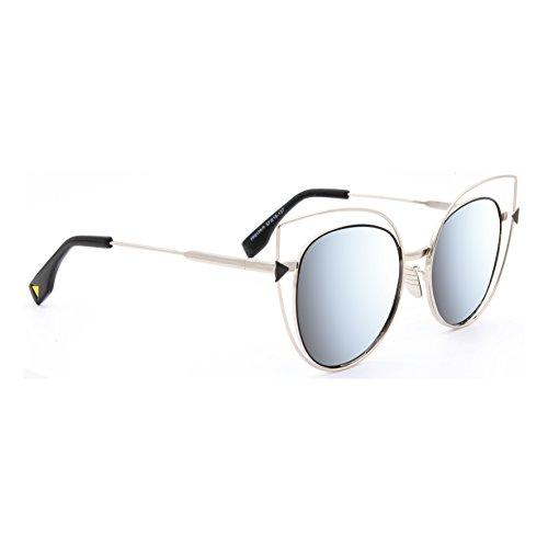 Occhiali da sole marca isurf eyewear modello canary metal outfit 2017 gatta montatura metallo fashion (argento specchio argento)