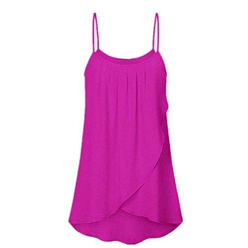 MRULIC Damen T-Shirt Armelloses Top Frauen Verstellbare Schultergurte Runden Hals Leibchen Crop Top(A-Rosa,EU-44/CN-2XL