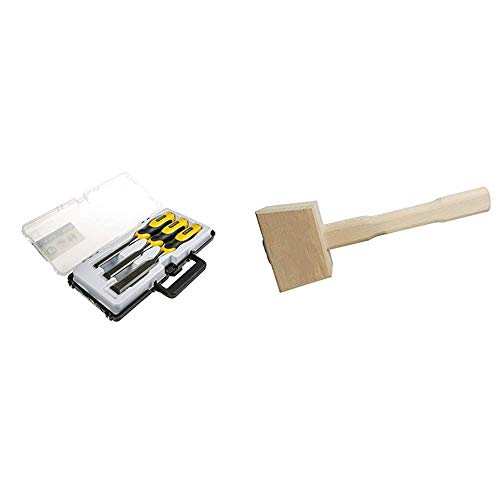 Stanley DynaGrip Stechbeitel-Set (3-teilig, 12/18/25 mm, Chrom-Stahl-Legierung, ergonomisch, schlagfester Griff) 2-16-883 & Silverline 273206 Klopfholz Schlagfläche: 115 mm