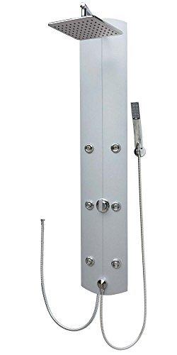 Duschpaneel Brausepaneel Duschsäule Aluminium große eckige Regendusche mit 6 Massagedüsen Handbrause Duschkopf Dusch Set Duscharmatur Duschsystem Schlauchanschluss Wand-und-Eckmontage in Silber