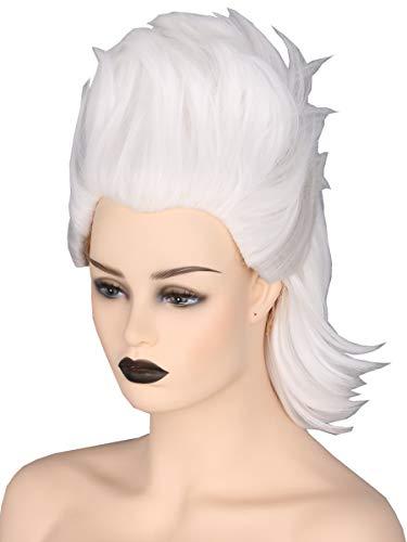 Topcosplay ursula parrucca donna, corta parrucca strega bianca per carnevale halloween