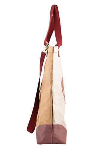Adelheid Damen Abenteurerin Einkaufstasche Veganes Leder Henkeltasche, Grau (Silbergrau), 10x45x40 cm - 3