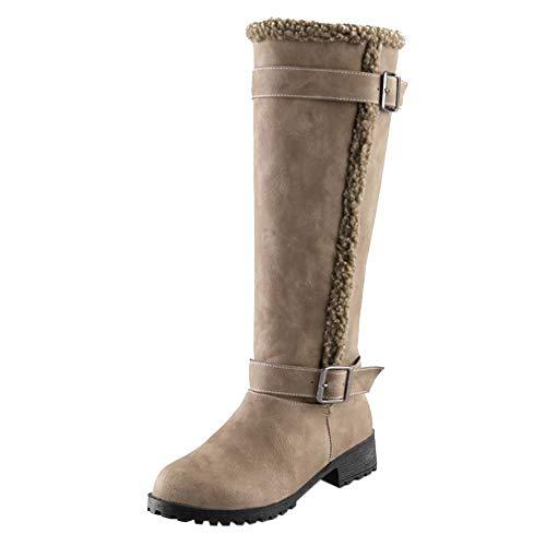 YWLINK Damen Klassische Winter Warm Stiefel Flacher Boden Schneestiefel LäSsig Bequem Warm Niedrige Ferse PlüSch Kniehohe Stiefel Mit Blockabsatz Schnallen