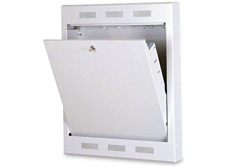 DIGITUS Professional Wandgehäuse für Heimsentzwerk/Hausautomatisation, ausschwenkbar, 19″ Montageaufnahmen im Inneren