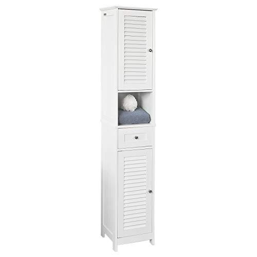 SoBuy® Mobile Alto da Bagno, con 1 cassetto e 2 Ante in Stile tapparelle,Bianco, A170cm, FRG236-W,IT