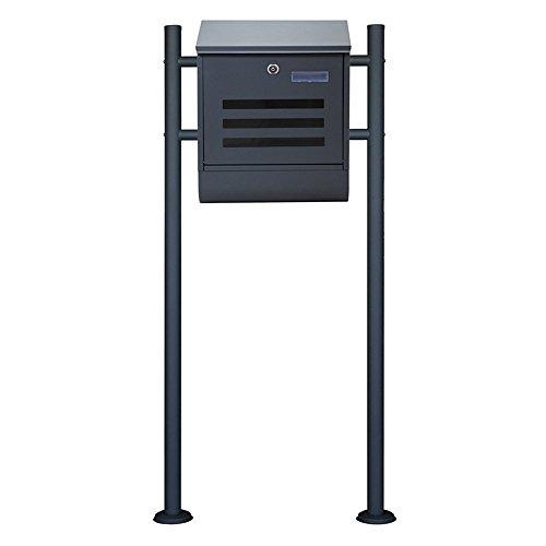MCTECH® Briefkasten Doppelrohr Standbriefkasten Gebürstetes Edelstahl Postkasten Mailbox Zeitung Wandbriefkasten Post Briefkastenanlage mit Zeitungsfach Doppelrohr Standbriefkasten (J,300*110*400mm)