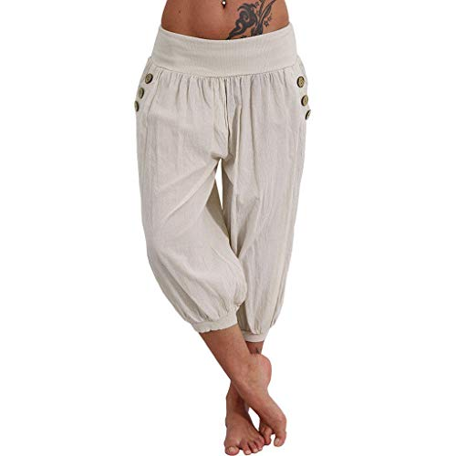 VRTUR Damen Yogahose Pumphose in Unifarben | lässige Kurze Hose | Bermuda für den Strand | Haremshose Sommer 3/4 Yogahose Aladinhose Pluderhose Stoffhose (Small,Beige) - Herren Beige Kleid Hose