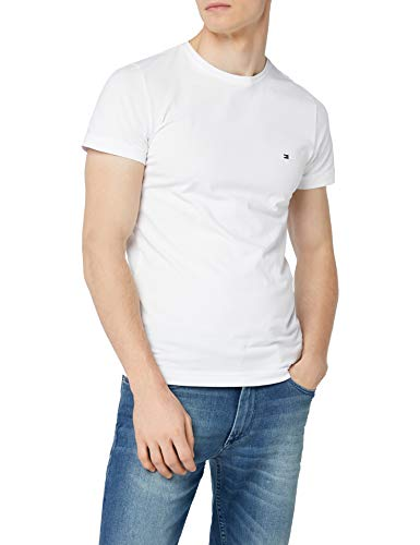 Tommy hilfiger core stretch slim cneck tee, t-shirt uomo, bianco (bright white 100), large