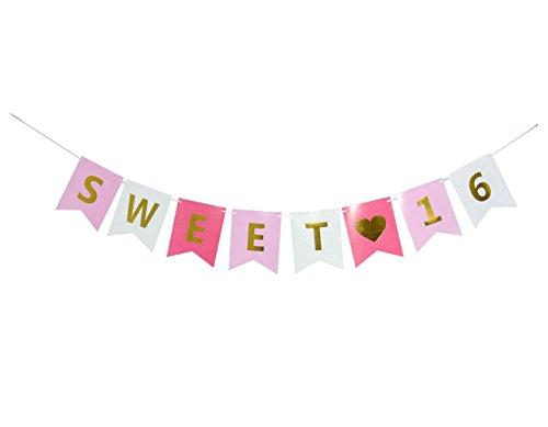 GOER Sweet 16Geburtstag Banner Gold Pink Glitzer, 16th Birthday Party Supplies, Sweet Sixteen Dekorationen, kleine Geschenke