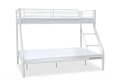 Humza Amani Palmdale Metal Triple Sleeper Bunk Bed, Single/ Double, 201 x 145 x 154 cm, White