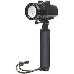 D & F étanche torche LED lumière 1000LM plongée 60m vidéo photographie lampe de poche pour GoPro héros 6/5/4/HERO(2018), SJCAM , Xiaomi Yi WiMiUS Campark et autre Action Caméra de sport