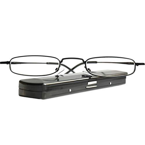 Leichte Metall Mini Lesebrille | Edelstahl Rahmen (Schwarz) | mit GRATIS Slim-Fit Alu Etui | Lesehilfe für Damen und Herren von Mini Brille | +2.0 Dioptrien