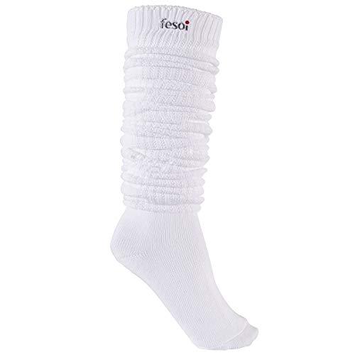 fesoi Slouch Socks - 120 cm Länge weiß | Schoppersocken | Loose Socks | Tube Sock | Schlauch Socken | 90s College | Kawaii Japan | Cheerleader USA (39-42)