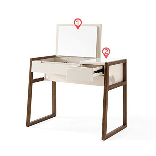 Kosmetiktisch, Multifunktionale Makeup Table Holz Vanity Set Mit Flip-Top Spiegel Schreibtisch Mit 2 Schubladen Einfache Montage - Flip-top-schreibtisch