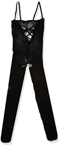 Mandy Mystery Lingerie - transparenter Ouvert-Overall für Frauen, figurbetonter Catsuit mit offenem Schritt, Bodysuit aus Netz, schwarz