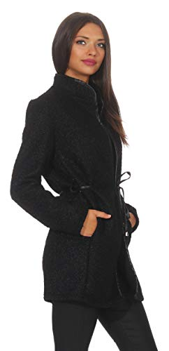 Mississhop 286 Damen eleganter Mantel Cardigan Trenchcoat mit Gürtel in Leder Optik Stehkragen Coat für die Übergangszeit Schwarz
