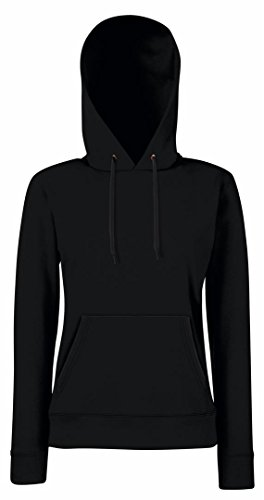 Fruit of the Loom Damen Lady-Fit Hooded Sweat 62-038-0 Black S (Hoodie Womens Long Baumwolle)
