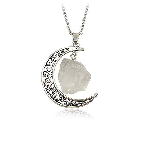 Collar con colgante de luna creciente con forma orgánica y piedra natural de cuarzo blanco y cadena de plata