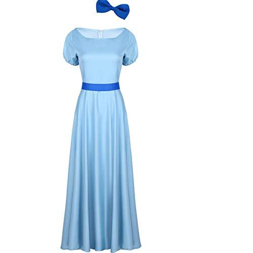 Tiaobug Damen Vintage Kleider Elegant Abendkleid lang Ballkleid Midi Faltenrock Prinzessin Kostüm mit Schleife-Haarclip Cocktail Party Festzug Hellblau Medium