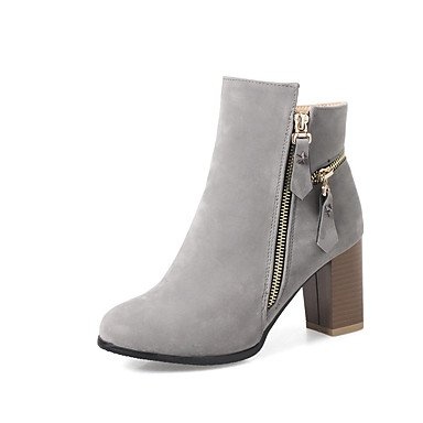 Wuyulunbi@ Scarpe Donna Stivali Inverno Comfort Informale Party & Abito Da Sera Comfort Zipper Chunky Heel Mandorla Giallo Grigio Nero 2A-2 3/4In US7.5 / EU38 / UK5.5 / CN38