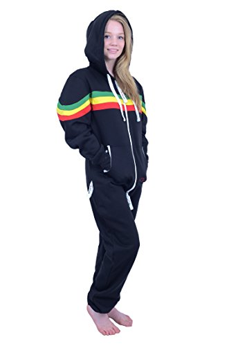The Classic Unisex Onesie in Black and Grn YEL Red Stripes - XL - 4