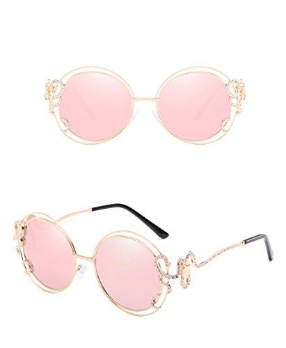 Z&HA Große Runde Sonnenbrille, Double Circle Metalldrahtgestell, Weibliche Hohle Diamant Unregelmäßige Arme Gradient Gläser - 56 Mm Breit Und 60 Mm Hoch, Dame Zubehör Mit Brille Box,Barbiepink