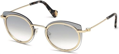 MONCLER Unisex Adults' ML0017 28C 56 Sunglasses, Gold (Oro Rosa Lucido/Fumo Specchiato)