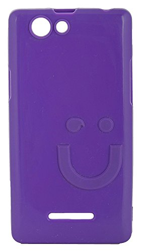 iCandy™ Imported Quality Soft TPU Smiley Back Cover For Xolo A500S - Purple  available at amazon for Rs.180
