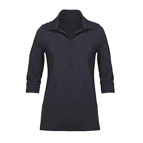 Modisches Damen Polo Shirt mit 3/4 Arm in Navy Blau, Gelb und Weiß mit grauen Streifen Größen M-XL (M, Navy Blau)
