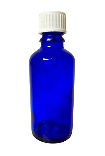 Blauglas-Flasche 50 ml mit DIN18 Gewinde & Deckel
