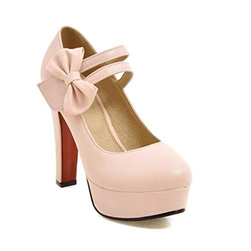 Frauen-Plattform Stilettos Mode süße High Heels Flache Pumps Hochzeitsschuhe mit Bowtie Heels Höhe 12cm