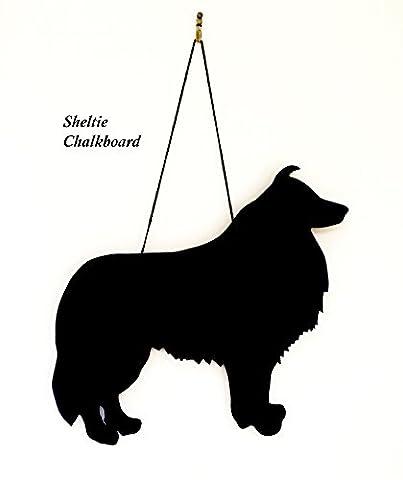 Shetland Sheepdog / Sheltie Dog Gift - Unique Handmade Dog Breed shaped Chalkboard, Memo board, Blackboard, 6mm Moisture Resistant MDF (approx. 12