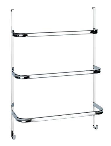 WENKO Handtuchhalter Irpinia mit 3 Handtuchstangen, einfach Einhängen an Duschwand oder Tür, Stahl, 54,5 x 77,5 x 21,5 cm, chrom
