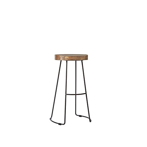 Swoon sgabello da bar welles, sedile ergonomico in legno di mango massello e gambe in metallo (acciaio) verniciato a polvere grigio antracite
