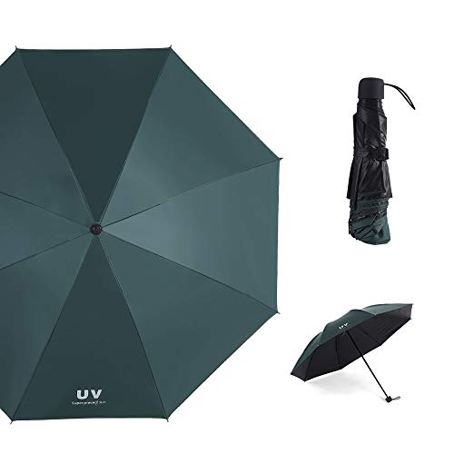 BUY-TO Reise-Taschenschirm Sonnenschirm UV Windresistent Regen Damen 8K Frame Windproof,Green,L - Frame Green Matte