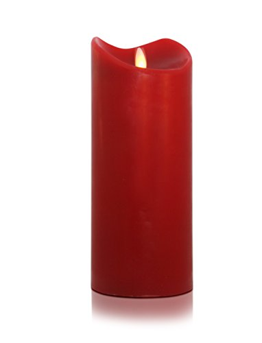 Tronje 18cm Rot LED Echtwachskerze im Stumpen Design LED Kerze Timerfunktion Echtes Wachs inklusive 2 x Mono D Alakaline Batterien Durchmesser 9,5 cm Kerzenlichtsimulation bewegter Doch