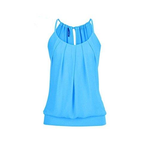 VEMOW Elegante Damen Frauen Mädchen Sommer Lose Runzeln O Neck Cami Tank Tops Weste Bluse T-Shirt Pullover T-stücke Pulli(Blau, EU-44/CN-3XL)