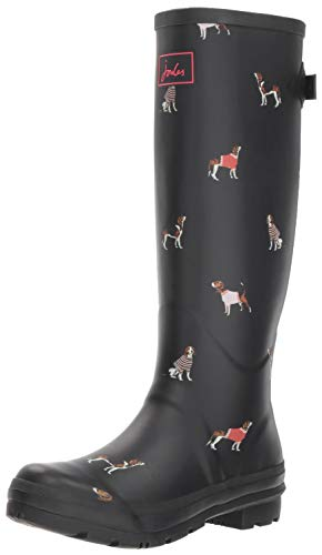 Joules Women's Welly Print Wellington Boots, Black (Black Jumper Dogs Blkjdog), 8 Uk (42 Eu)