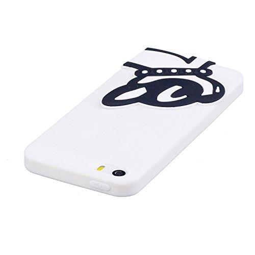 Cover Custodia la Iphone 5 5S SE silicone,Vandot 3D Creativo Cute Cartoon Animale Bulldog Copertura Elegante e Leggera Custodia Ultra Slim Modello TPU Gel Silicone flessibile Protettivo Skin Protettiv Cute 12
