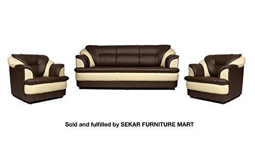 Sekar Lifestyle 3+1+1 Dual Tone Butterfly Sofa Set for Living Room [Colour - Brown & Beige]