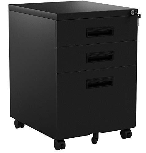 Merax Rollcontainer Hängeregistratur inkl 3 Schübe 41 x 52 x 60cm Grundsolide Verarbeitung Optimal für Schreibtisch Büromöbel Schreibtischcontainer Rollkontainer mit 3 Schubladen (Schwarz B)