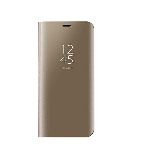 Auntwhale Samsung S9 Case Eingebauter Ständer Clear Smart View Anti-Drop Shell für Samsung S9 Case Fingerabdruckfest, schweißresistent. Bietet Schutz vor Kratzern, Stößen, Schmutz, Fett - Golden -