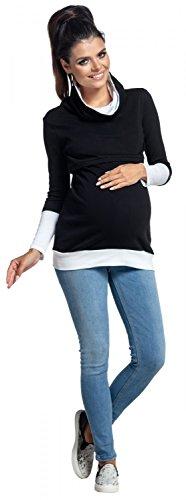 Zeta Ville - Still-Sweatshirt Kontrastdetails Stillen Lagendesign - Damen - 348c Schwarz & Weiß